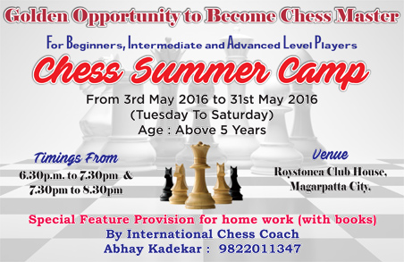 Chess Summer Camp from 3rd May to 31st May 2016 at Roystonea Club House