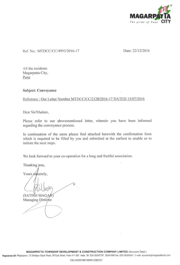 Conveyance Letters Amp Confirmation Form