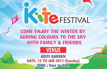 Kite Flying on Sunday,15th January, 2017 at Aditi Gardens