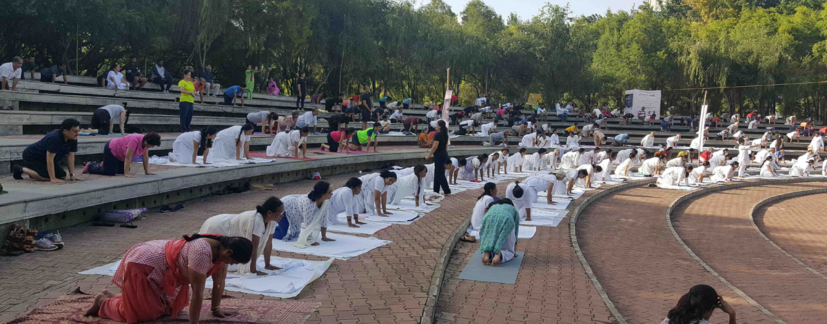 Ladies of Magarpatta City wholeheartedly participated at the 3d International Yoga Day